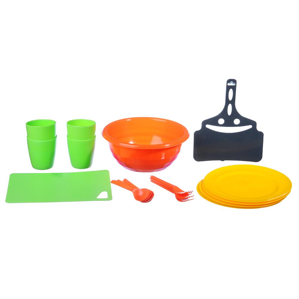 Набор посуды для пикника на 4 персоны, 19 предметов, пластик
