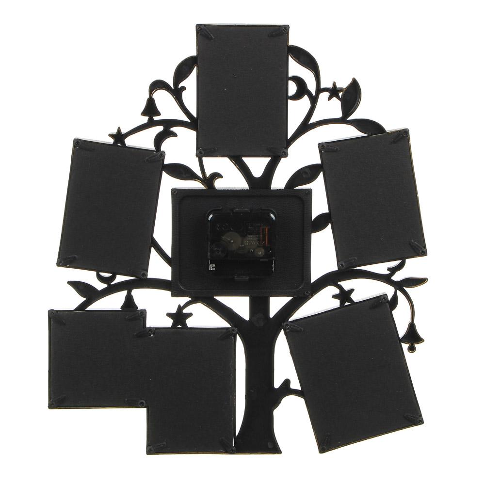 Фоторамка в форме дерева с часами на 6 фотографий, 1хАА, 32х36 см, пластик, 2 цвета, арт.А3