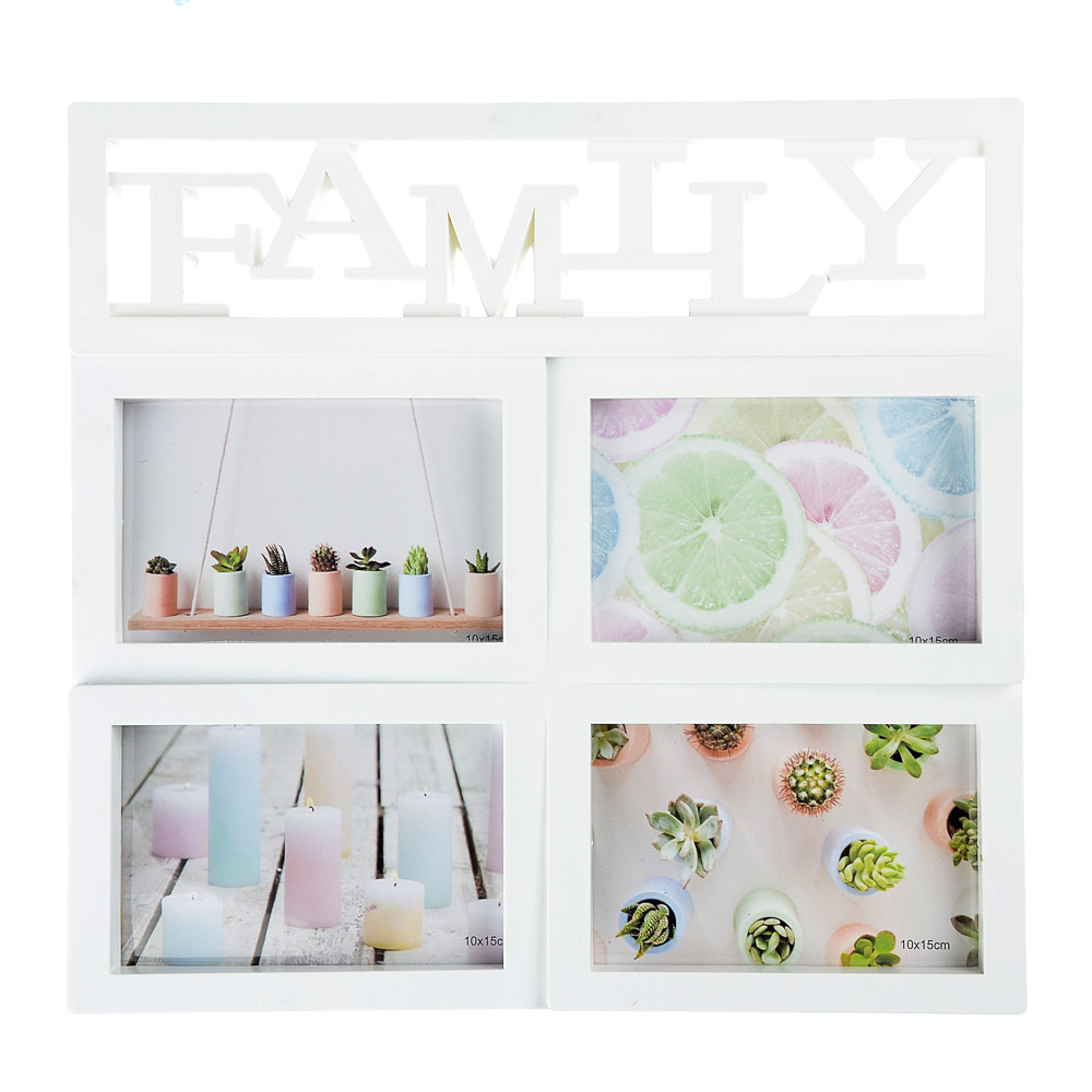 "Фоторамка на 4 фотографии ""FAMILY"", 33,5х32см, пластик"