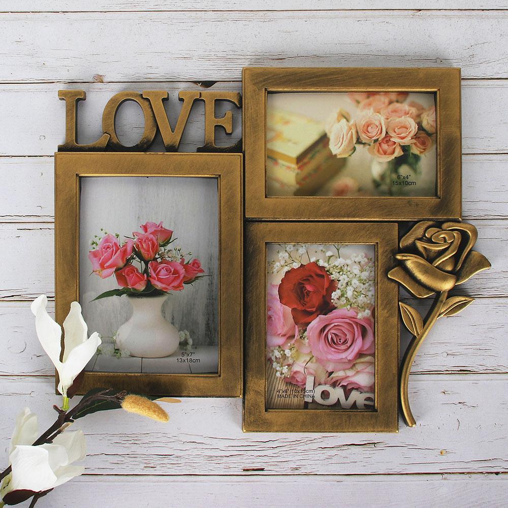 Фоторамка с розой на 3 фотографии, 36х31 см, 3 цвета, пластик