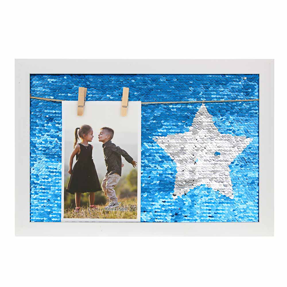 Фоторамка с пайеткамии прищепками, и рисунком, 22х32 см, 4 цвета, МДФ, пластик