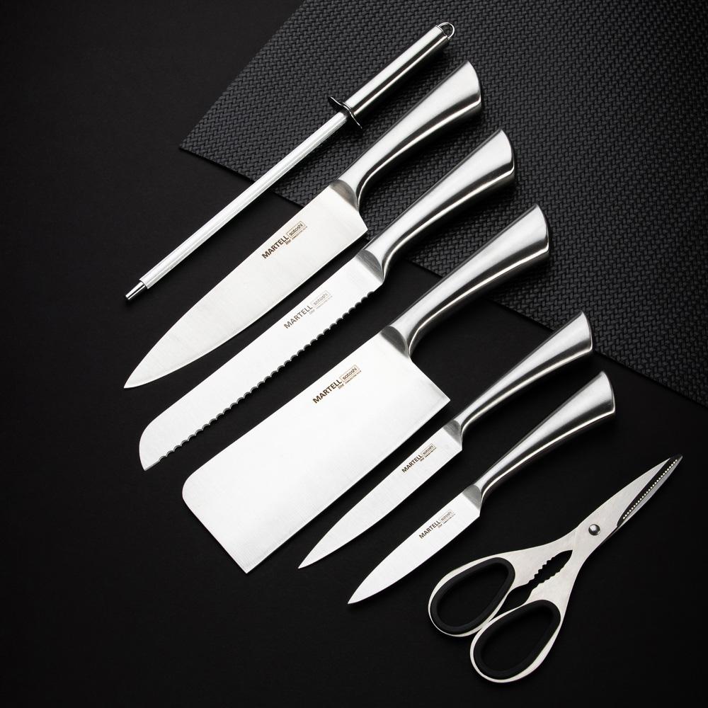 SATOSHI Мартелл Набор ножей кухонных 8пр, ручки хром, акриловая подставка