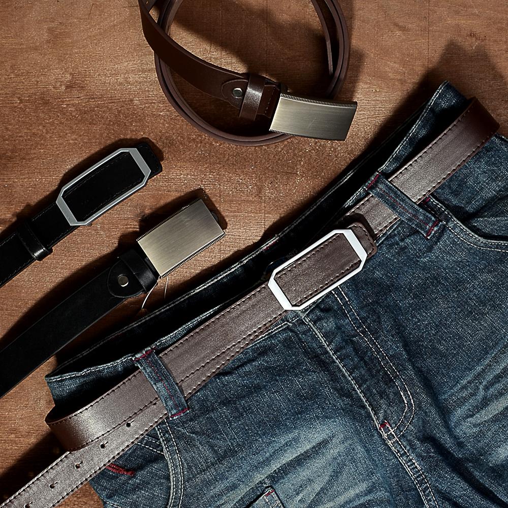 PAVO Ремень мужской с закрытой пряжкой, ПУ, сплав, 120/130х2,8см, 2 дизайна, 2 цвета