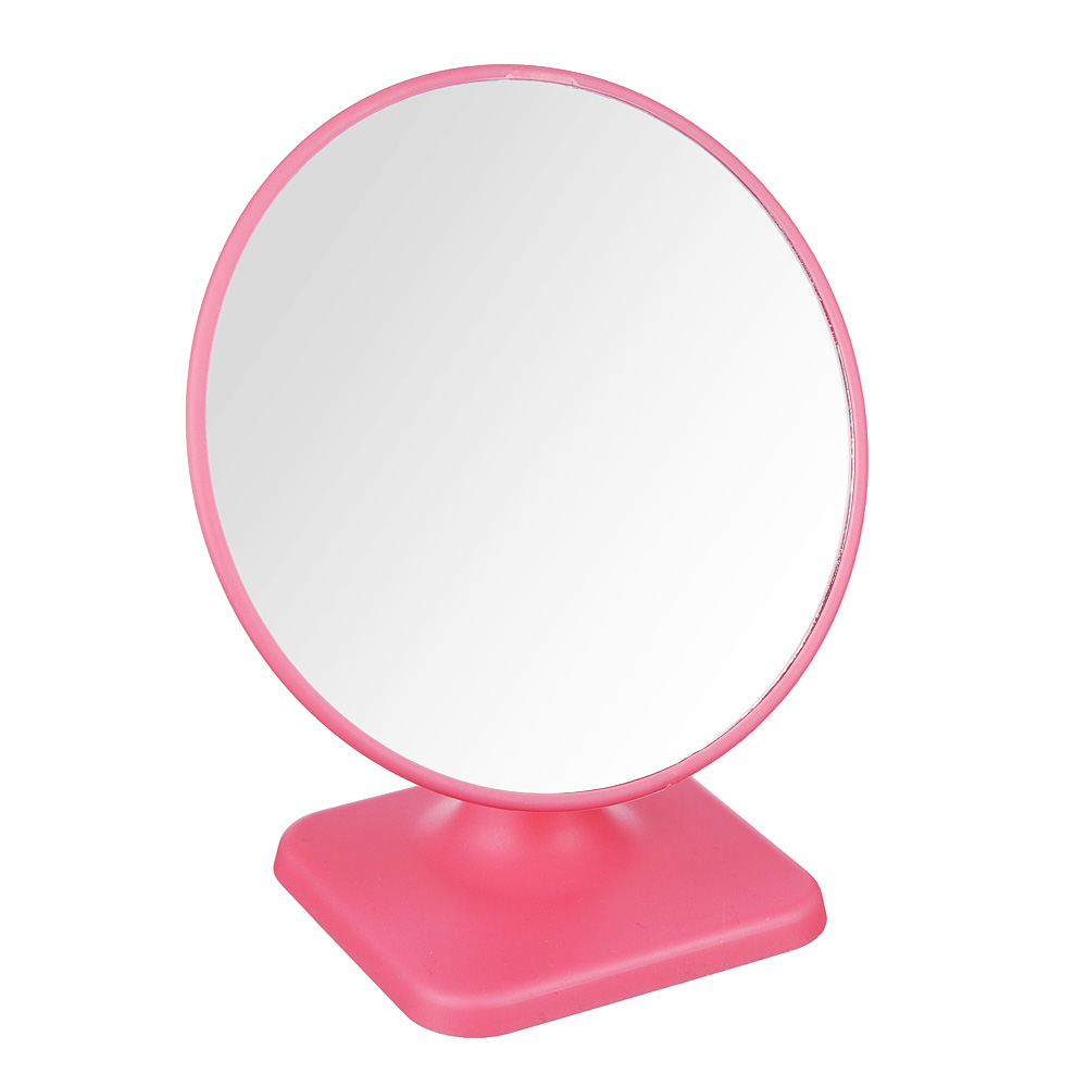 Зеркало настольное, пластик, стекло, 17х19см, 4 цвета, ЗН19-2