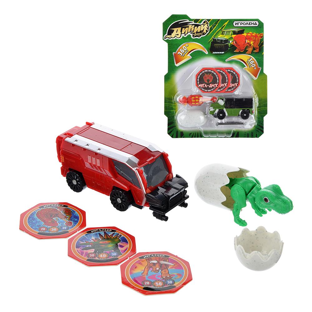 """ИГРОЛЕНД Машинка """"Дикий зверь"""", 6 предметов, пластик, 19х22, 2х5см, 5 дизайнов"""
