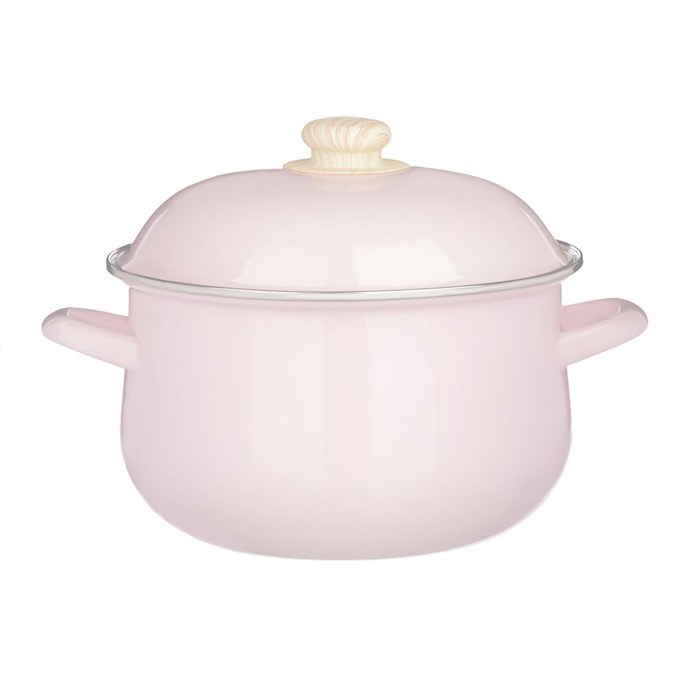 Кастрюля 3,6 л VETTA Глянец, эмалированная, розовый