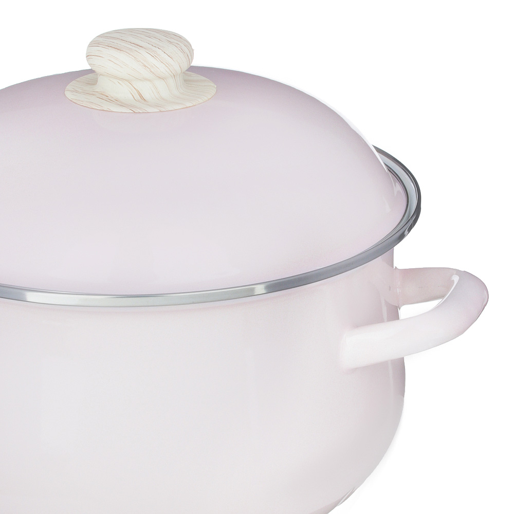 Кастрюля 5,0 л VETTA Глянец, эмалированная, розовый