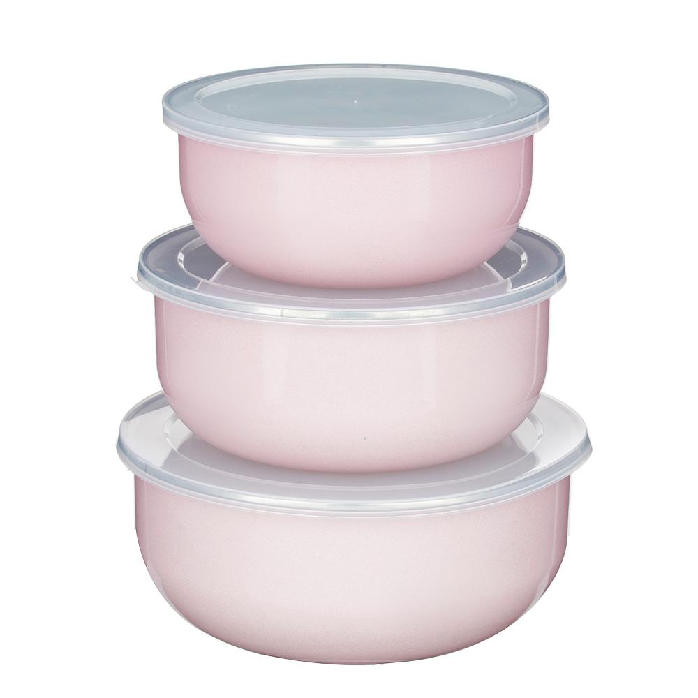 Набор салатниковс крышками VETTA Глянец, 6 предметов, эмалированные, розовый