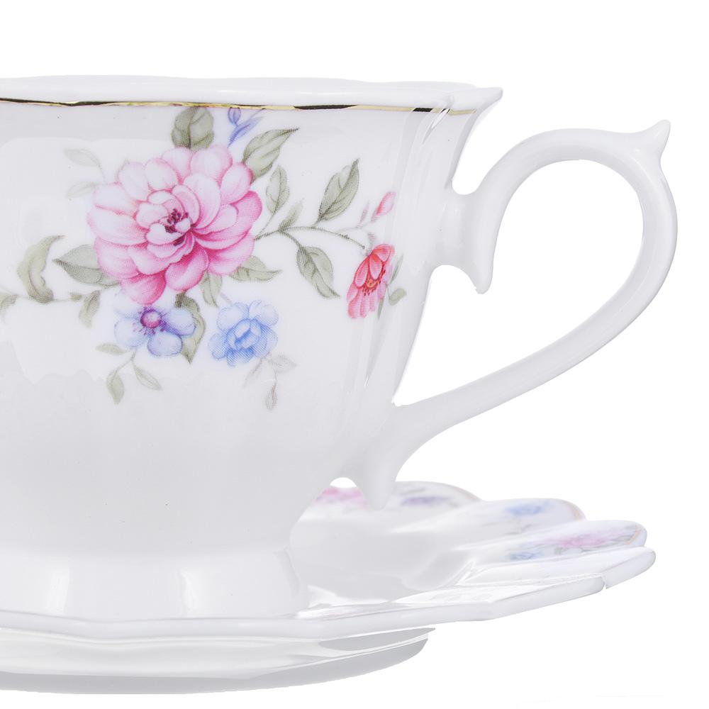 Чайный сервиз 12 предметов MILLIMI Азалия 220мл, костяной фарфор
