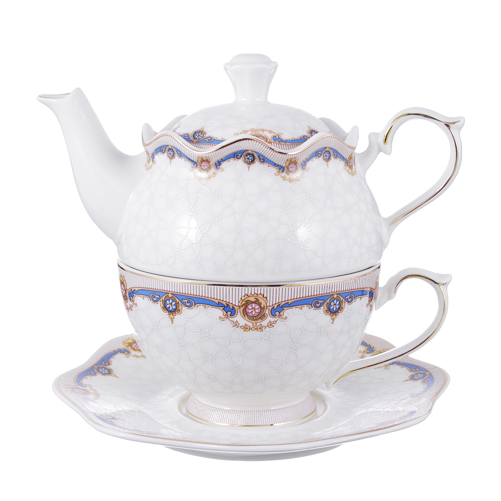 Чайный сервиз MILLIMI Мозаика (чайник, чашка, блюдце) костяной фарфор
