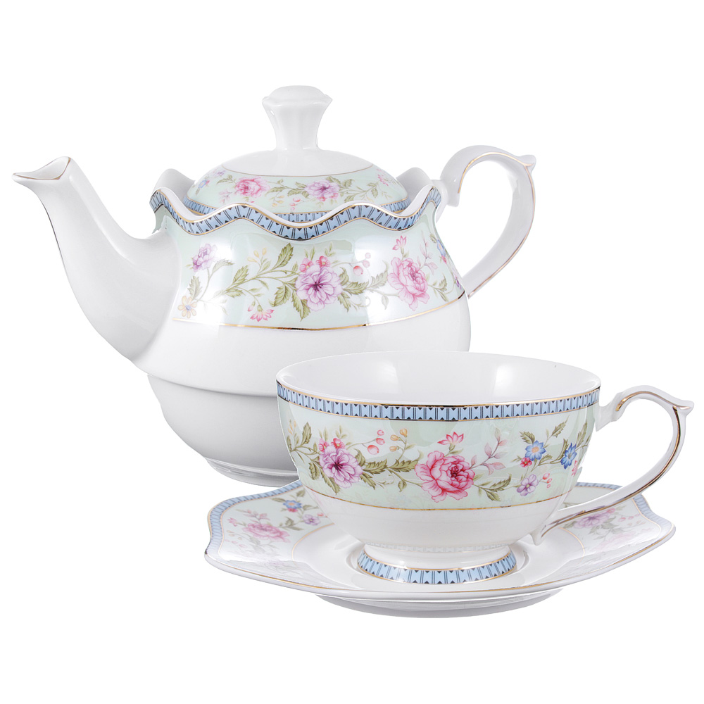 Чайный сервиз MILLIMI Дуэт (чайник, чашка, блюдце) костяной фарфор