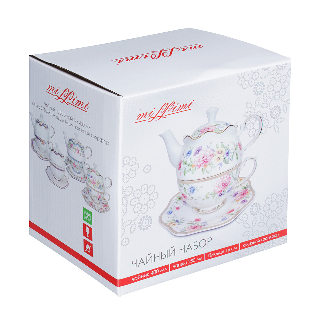 Чайный сервиз MILLIMI Азалия (чайник, чашка, блюдце) костяной фарфор