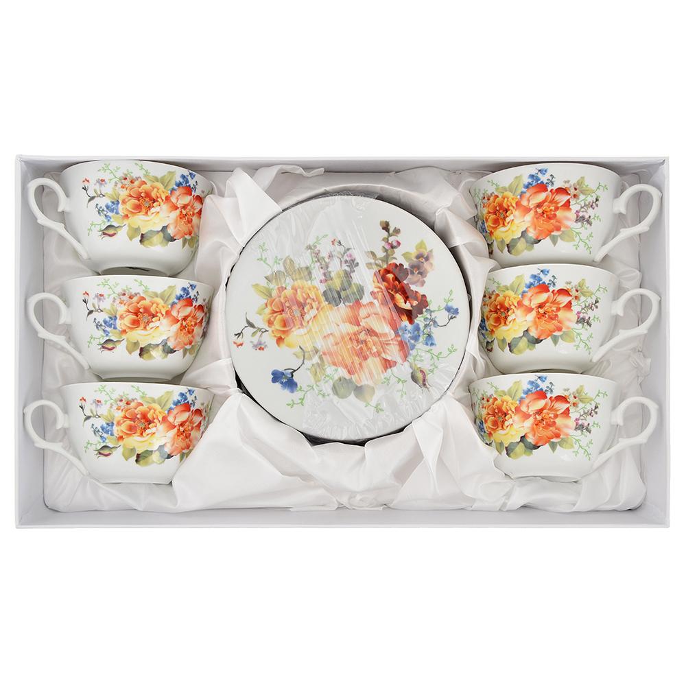 Чайный сервиз 12 предметов MILLIMI Каприз 250мл, тонкий фарфор
