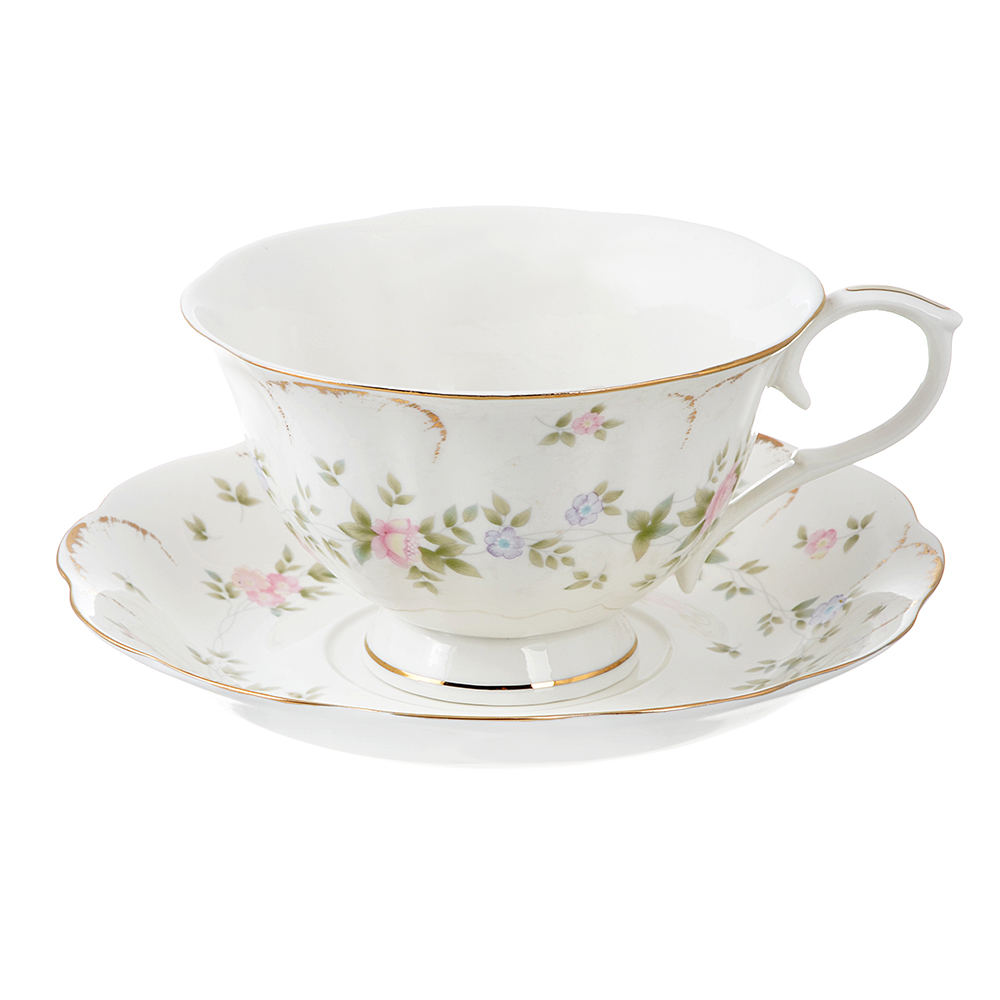 Чайный сервиз 2 предмета MILLIMI Вуаль 240мл, костяной фарфор
