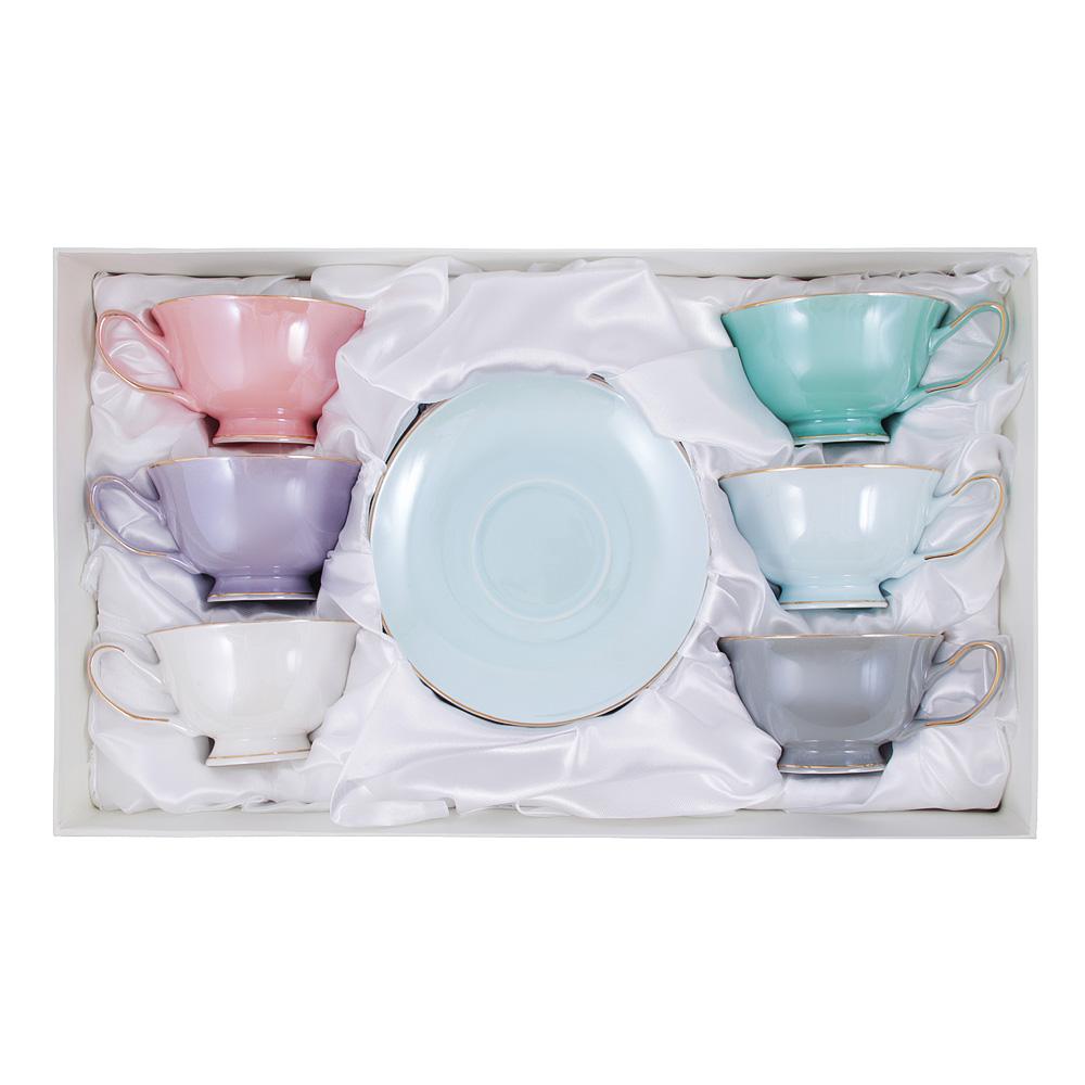 Чайный сервиз 12 предметов MILLIMI Перламутр 220мл, костяной фарфор
