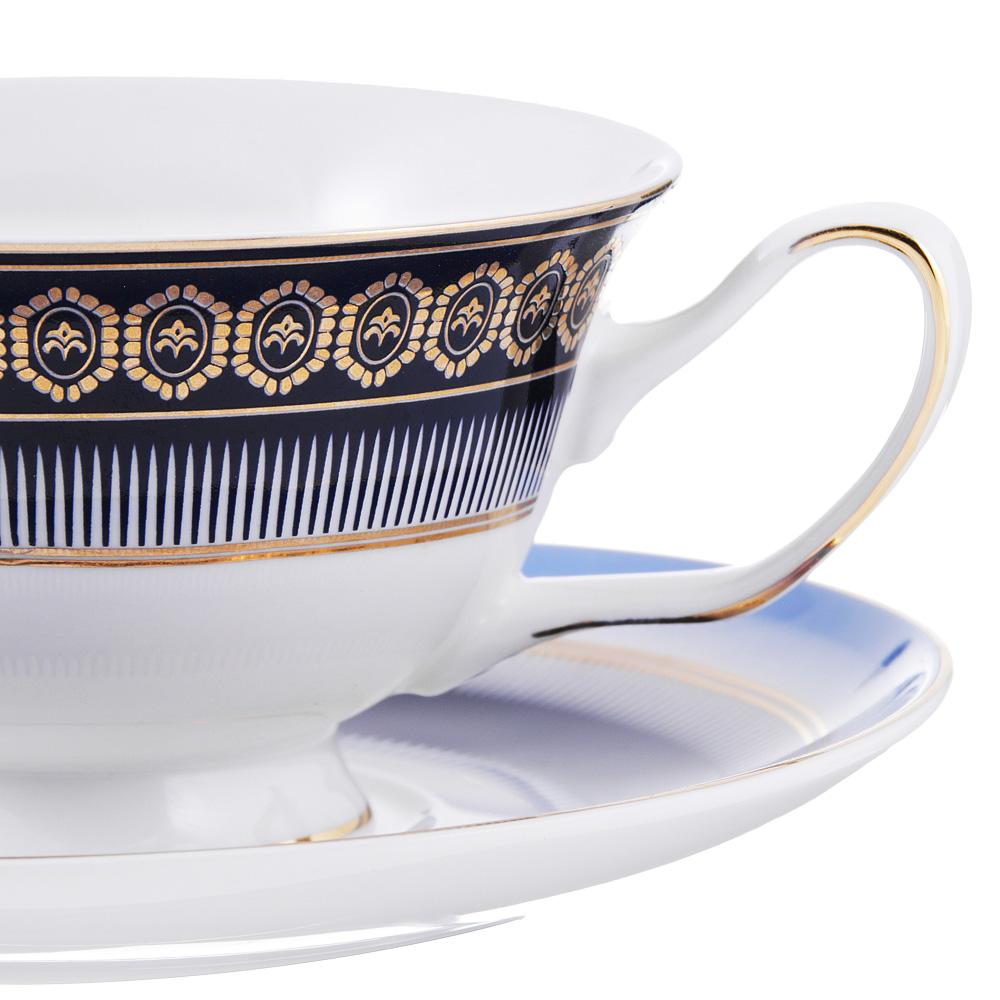 Чайный сервиз 12 предметов MILLIMI Адмирал 220мл, костяной фарфор
