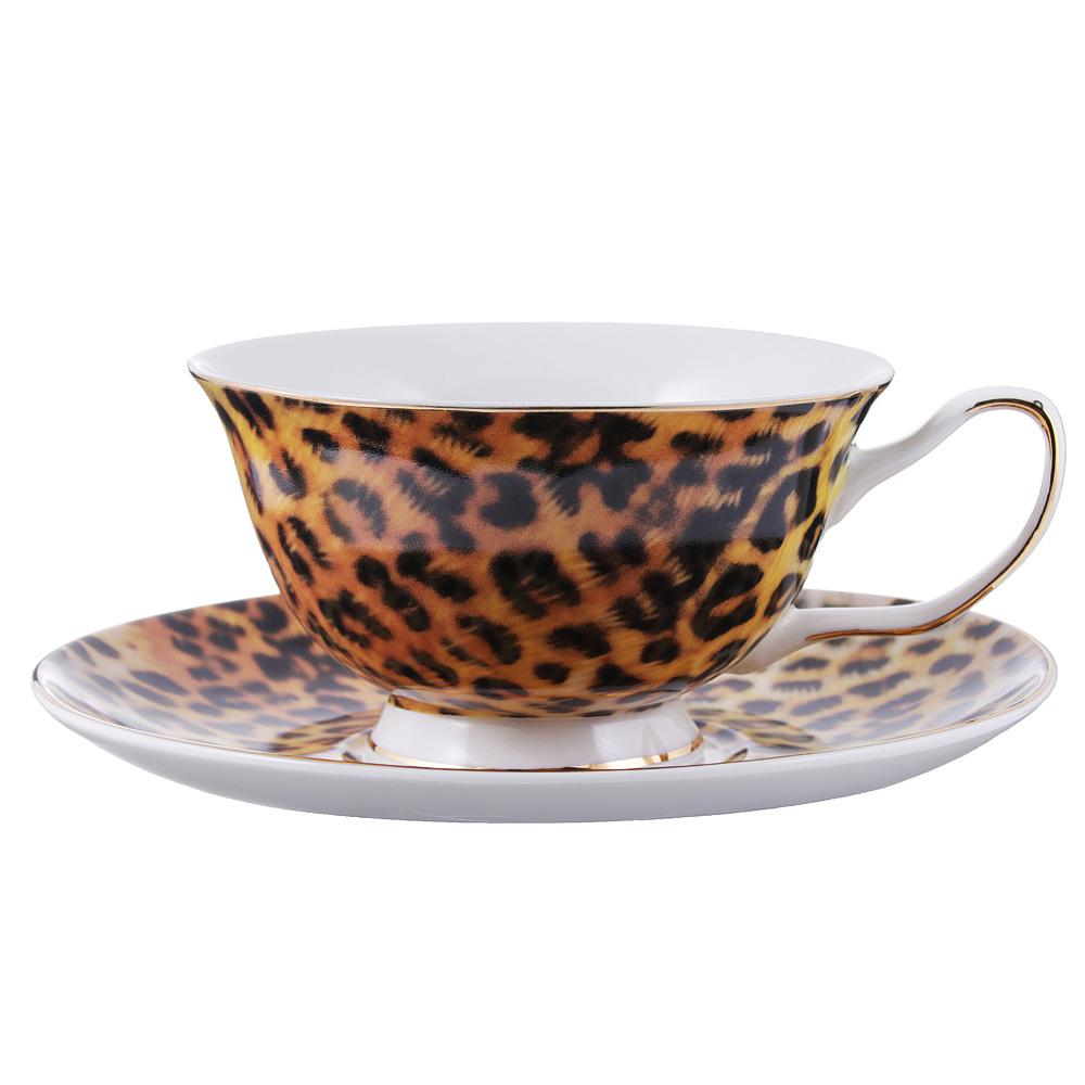 Чайный сервиз 12 предметов MILLIMI Леопард 220мл, костяной фарфор