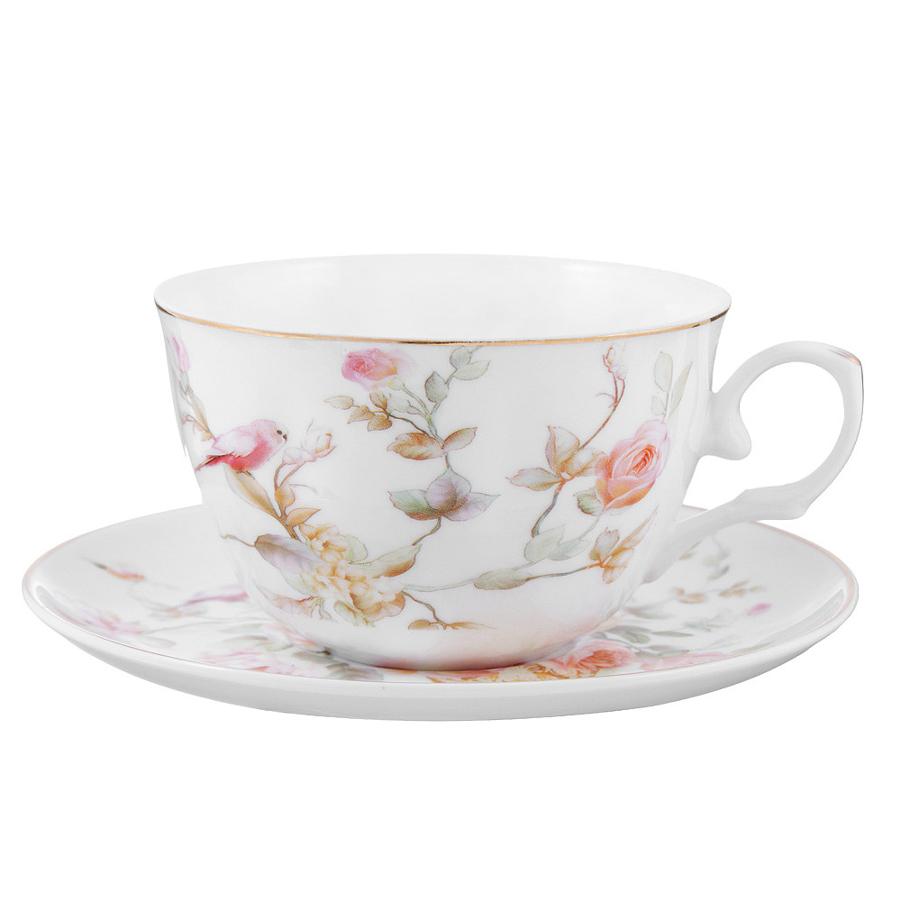 Чайный сервиз 4 предмета MILLIMI Ангела 250мл, тонкий фарфор