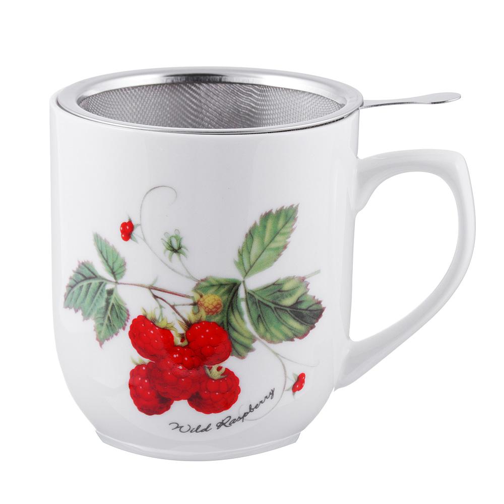 Чайный сервиз MILLIMI Земляника (кружка, ситечко, ложка, крышка), костяной фарфор
