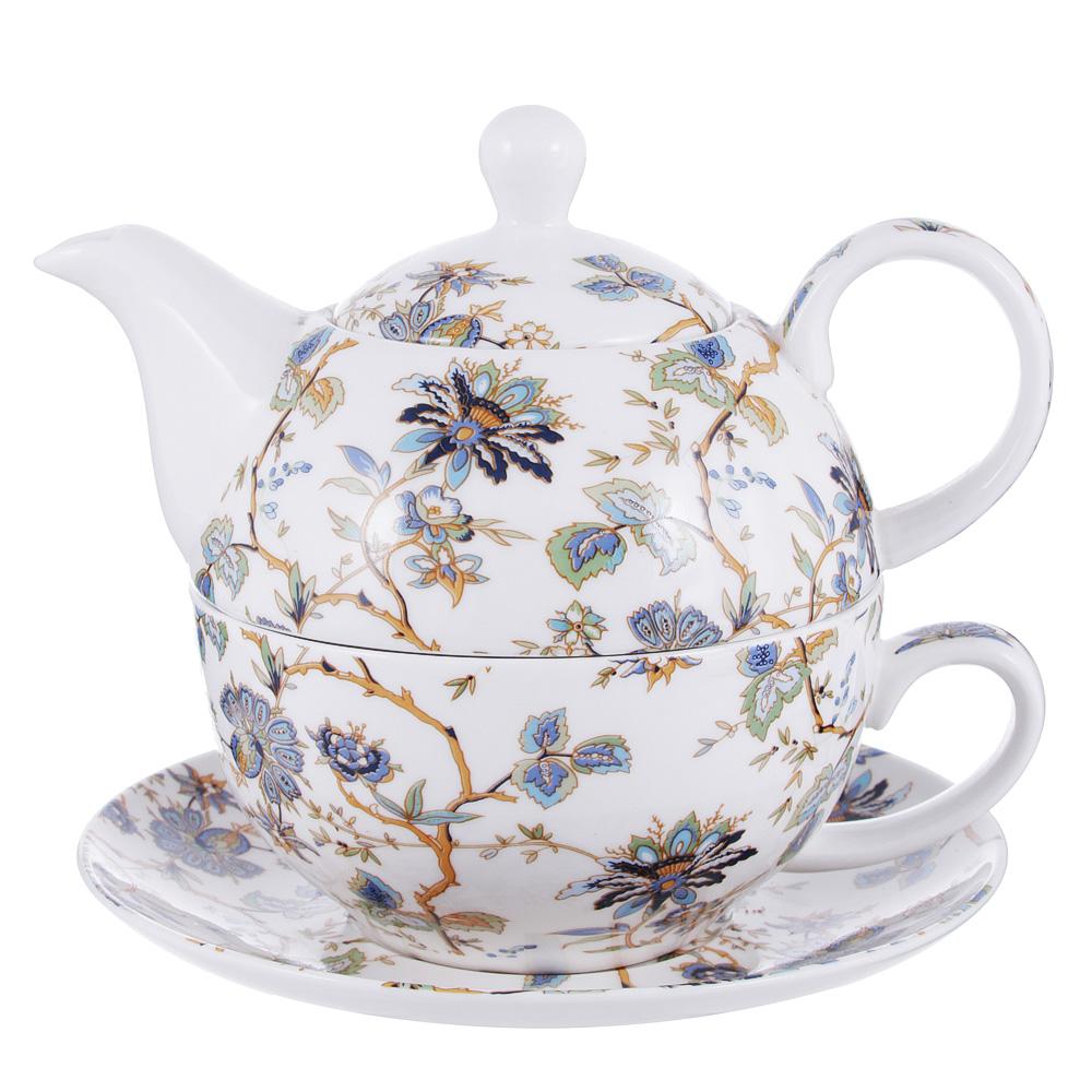 Чайный сервиз MILLIMI Жар птица (чайник, чашка, блюдце) костяной фарфор