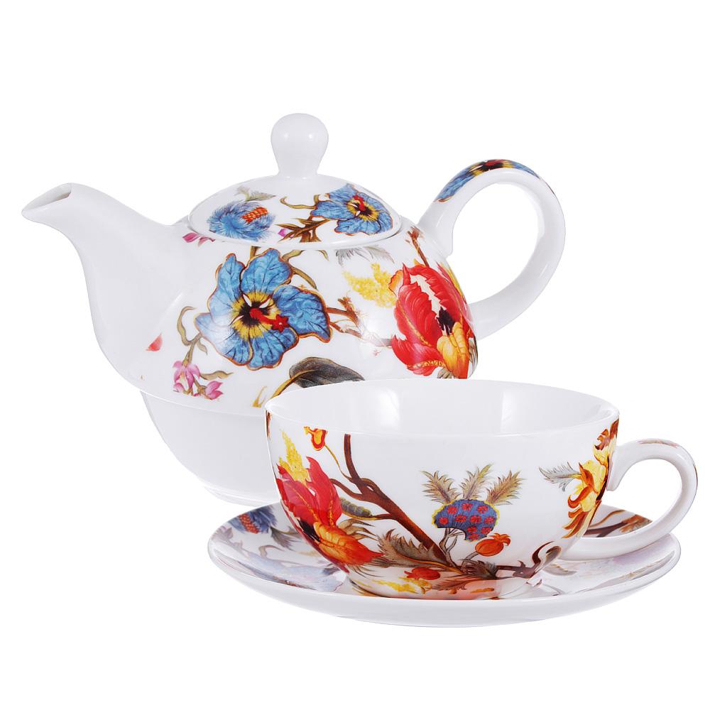 Чайный сервиз MILLIMI Ботаника (чайник, чашка, блюдце) костяной фарфор