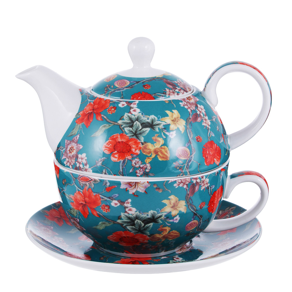 Чайный сервиз MILLIMI Ботаника аквамарин (чайник, чашка, блюдце) костяной фарфор
