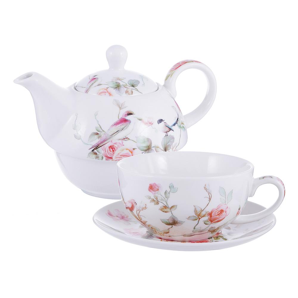 Чайный сервиз MILLIMI Ангела (чайник, чашка, блюдце) костяной фарфор
