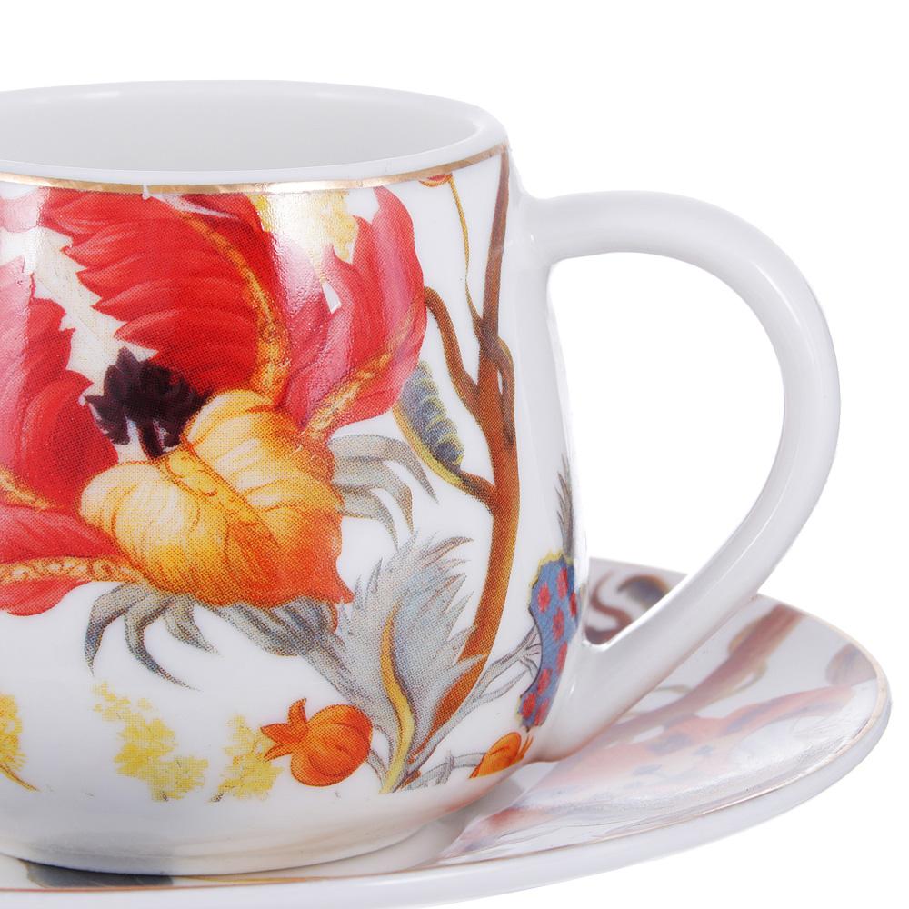 Набор кофейный 4 предмета MILLIMI Ботаника 90мл, костяной фарфор