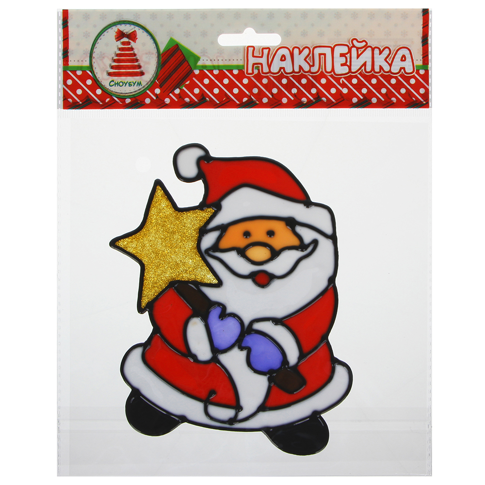 СНОУ БУМ Наклейка ПВХ  с изображением Снеговика, Деда Мороза и ёлки, 18х25см,16 дизайнов