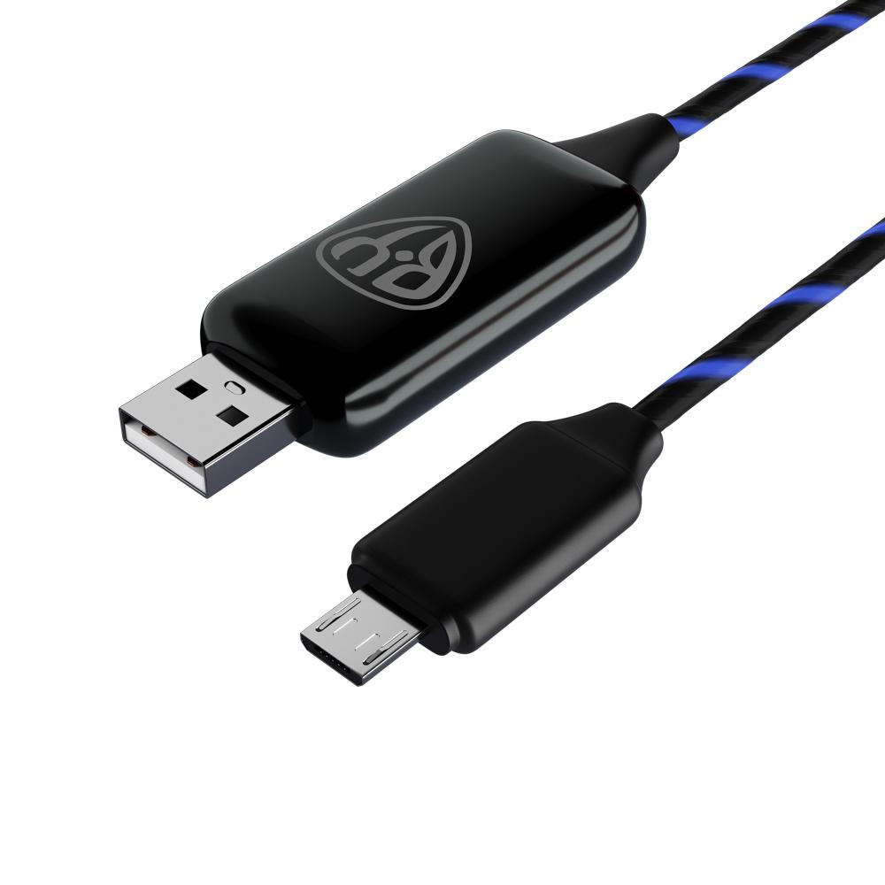 Кабель для зарядки FORZA micro USB, с LED подсветкой, 1м, 2.4А, покрытие TPE