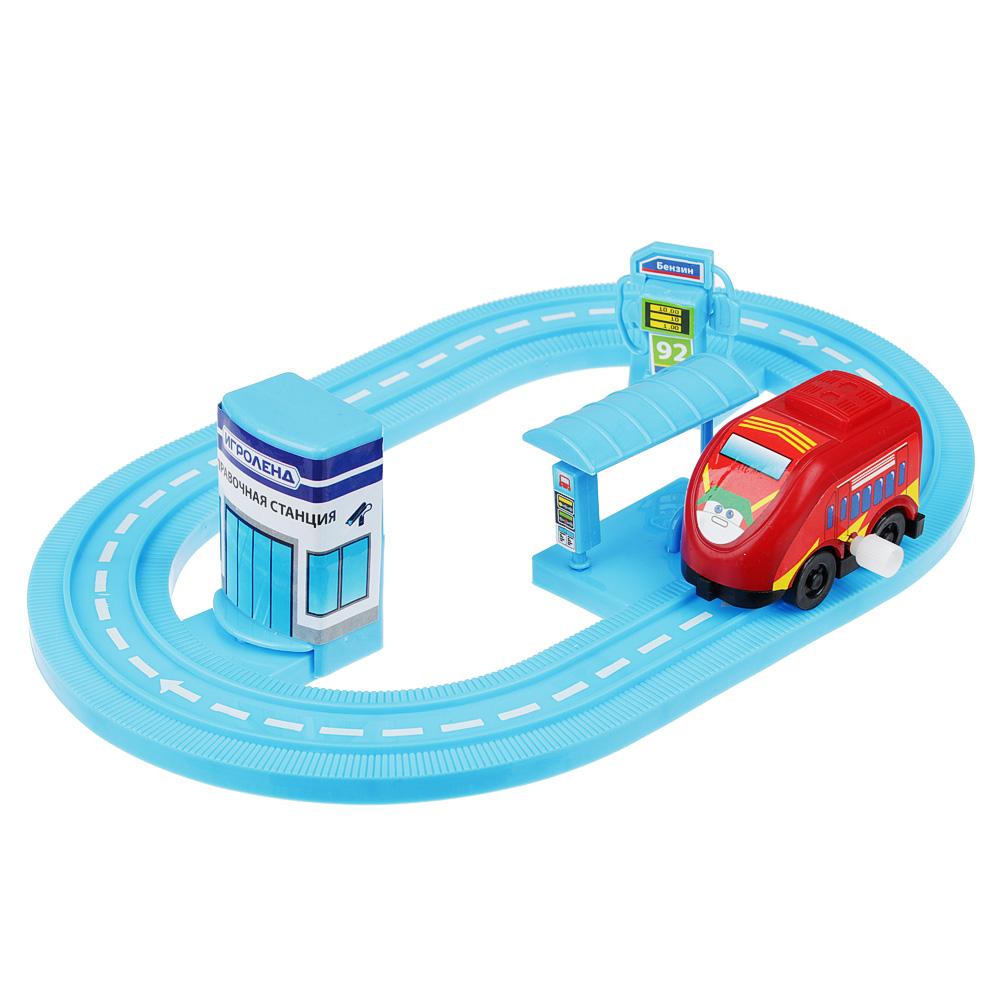 ИГРОЛЕНД Автотрек с машинкой и зданием, пластик, 30х18,5х3см, 6 дизайнов