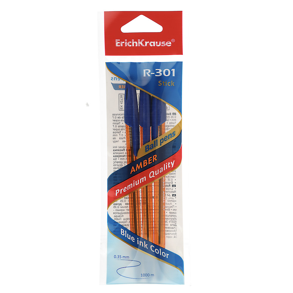 "Erich Krause Набор ручек шариковых синих ""R-301 Amber Stick"", 3шт, пластик, 42738"