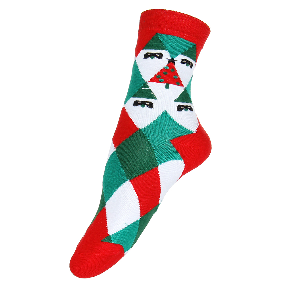 Носки женские праздничные, р-р 23-25, 85% хлопок, 10% полиамид, 5% спандекс, 3-6 дизайнов