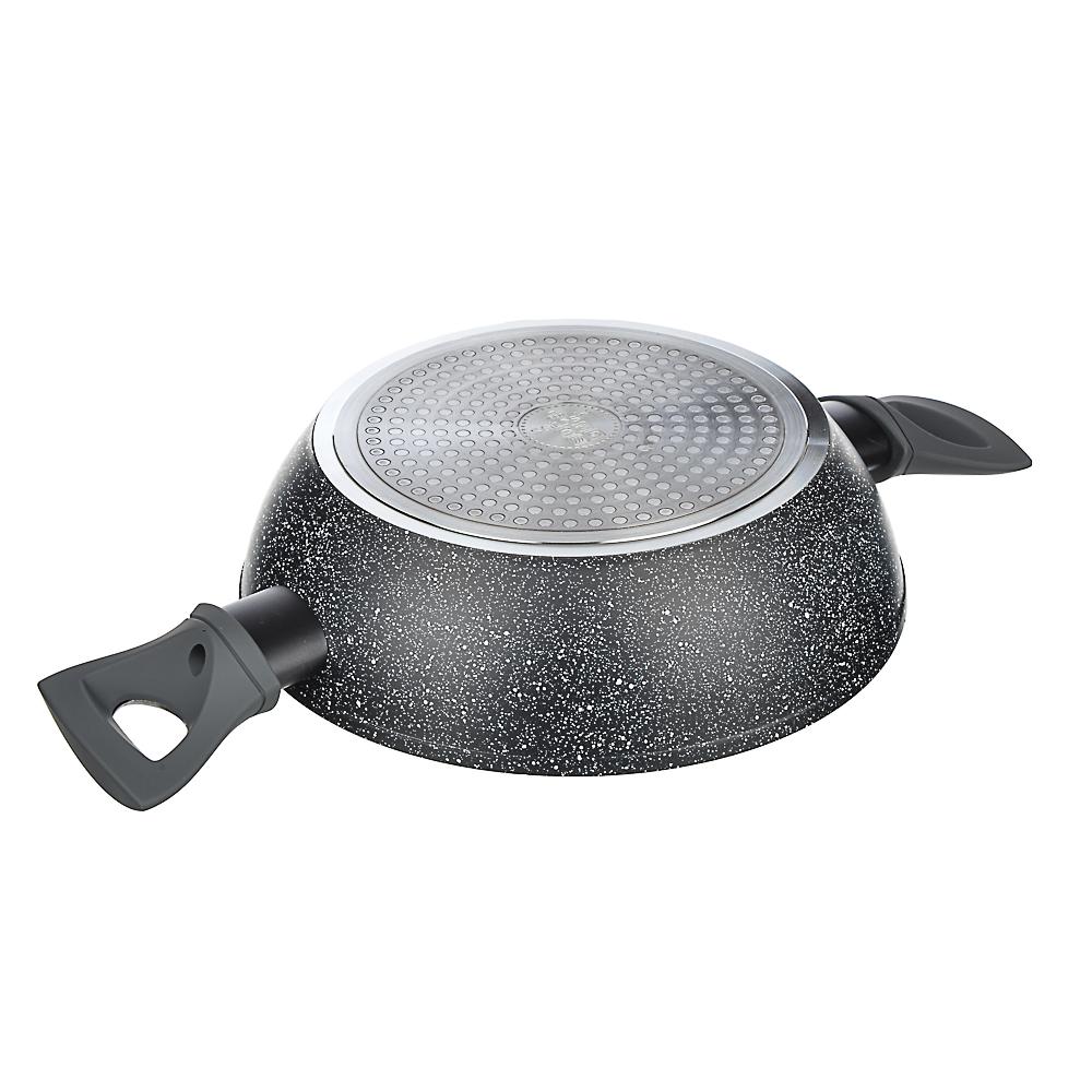 SATOSHI Труа Набор 4пр. Сковорода, сотейник, кастрюля d=24см, крышка, антипригарное покрытие мрамор
