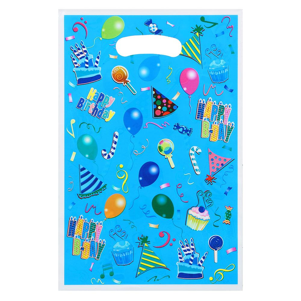 Пакет ПВХ цветной, 17х25 см, рисунок подарки, 3 цвета
