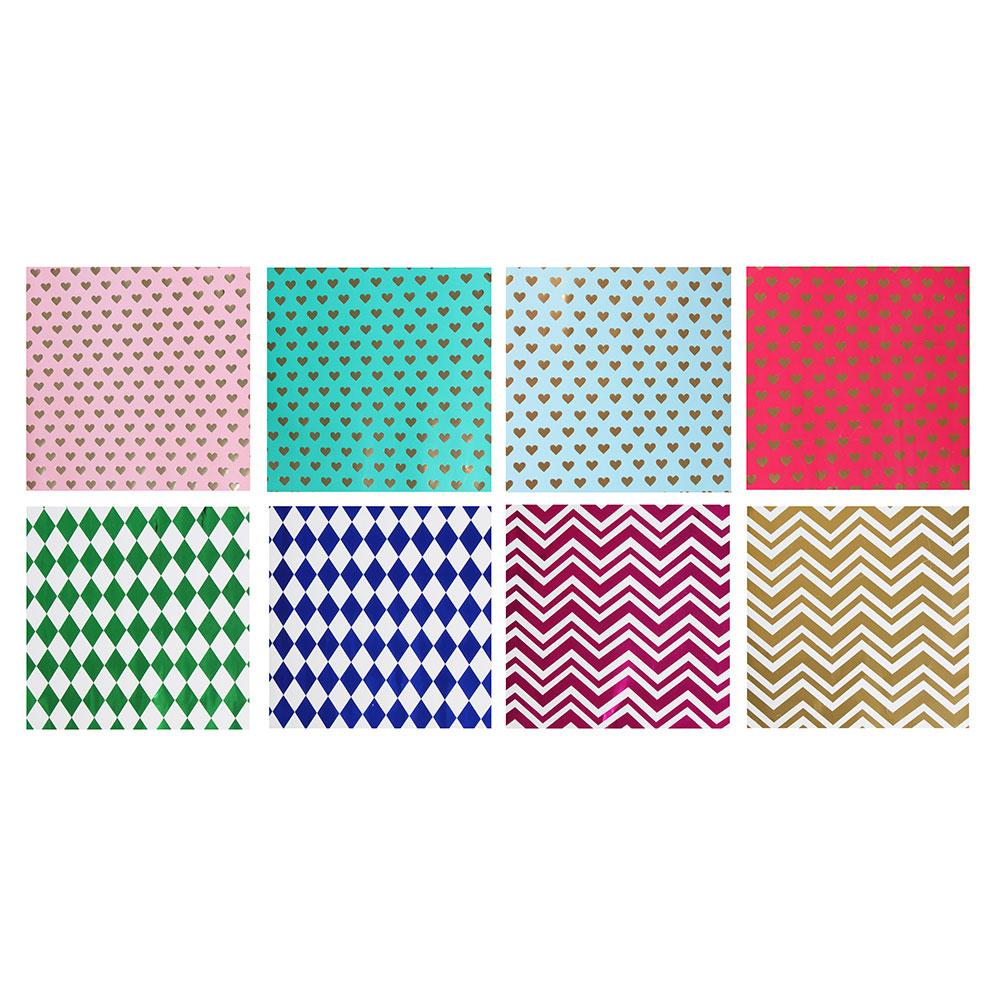 Бумага упаковочная, мелованная с блестящим слоем, 53х75 см, 8 цветов