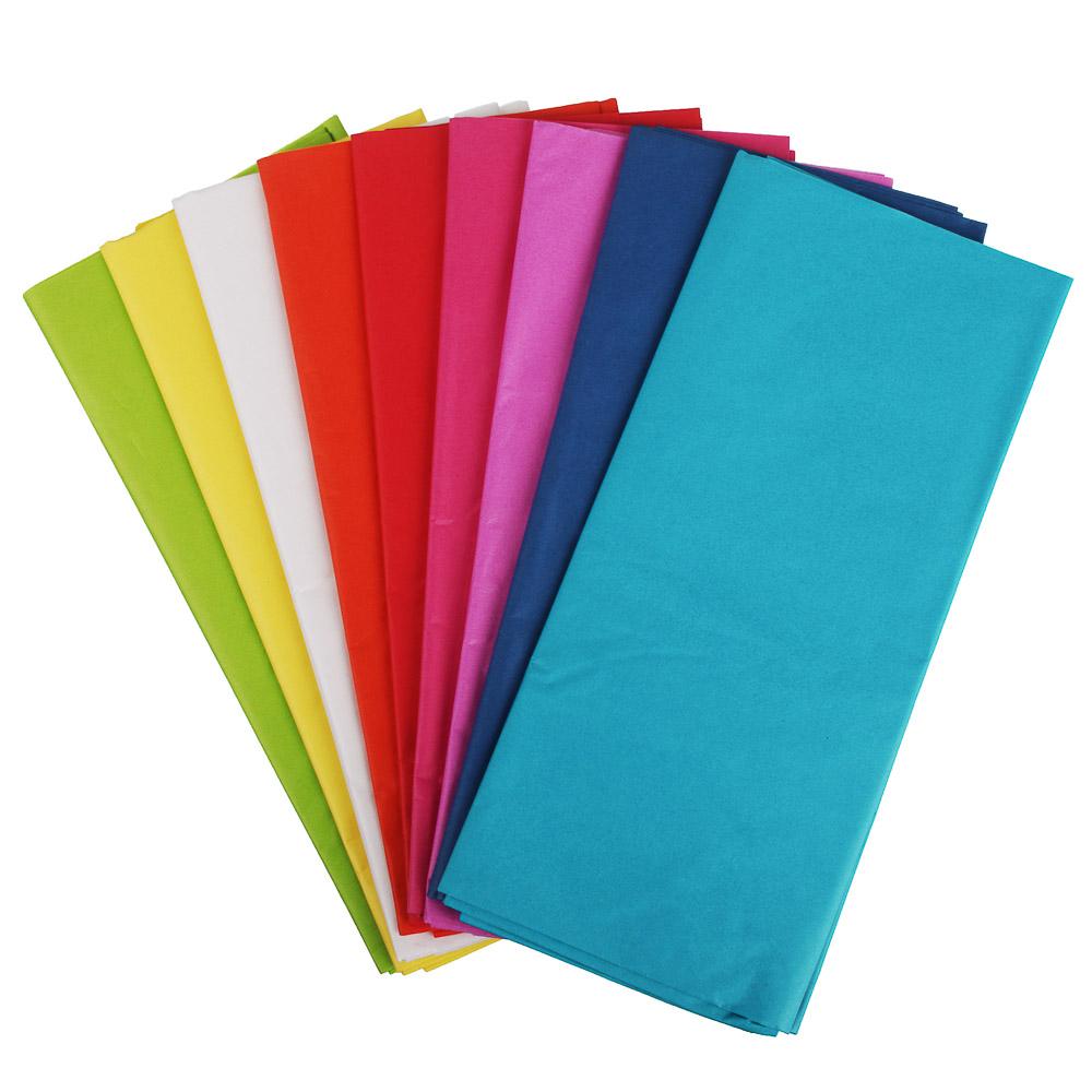 Бумага тишью, цветная, набор 5 штук 50х66 см, 10 цветов