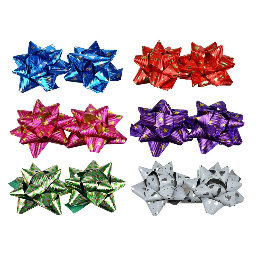 Набор подарочных бантов LADECOR 7 см, 6 цветов, с рисунком, 2 шт