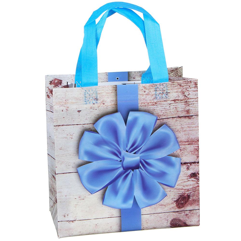 Пакет подарочный, полиэстер, 22х23х11 см, с бантиками, 4 цвета