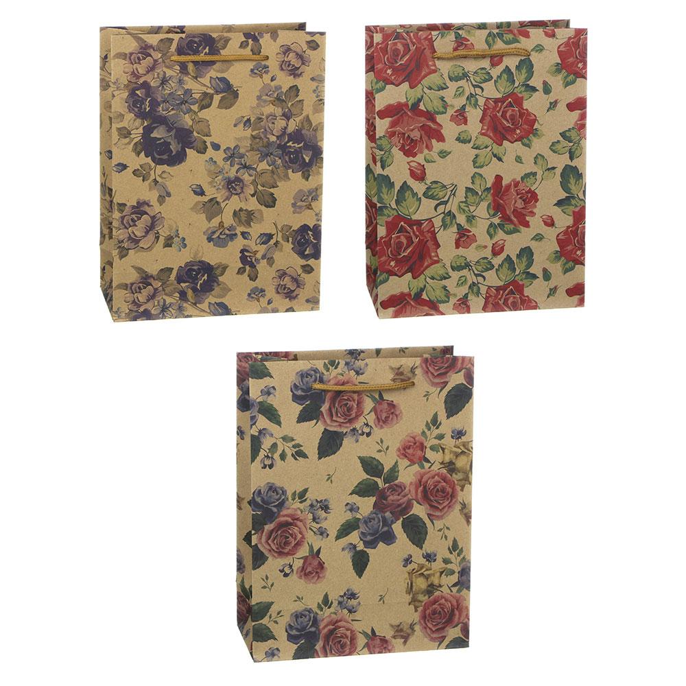 Пакет подарочный бумажный, крафт, 18х24х8,5 см, с цветами, 3 дизайна