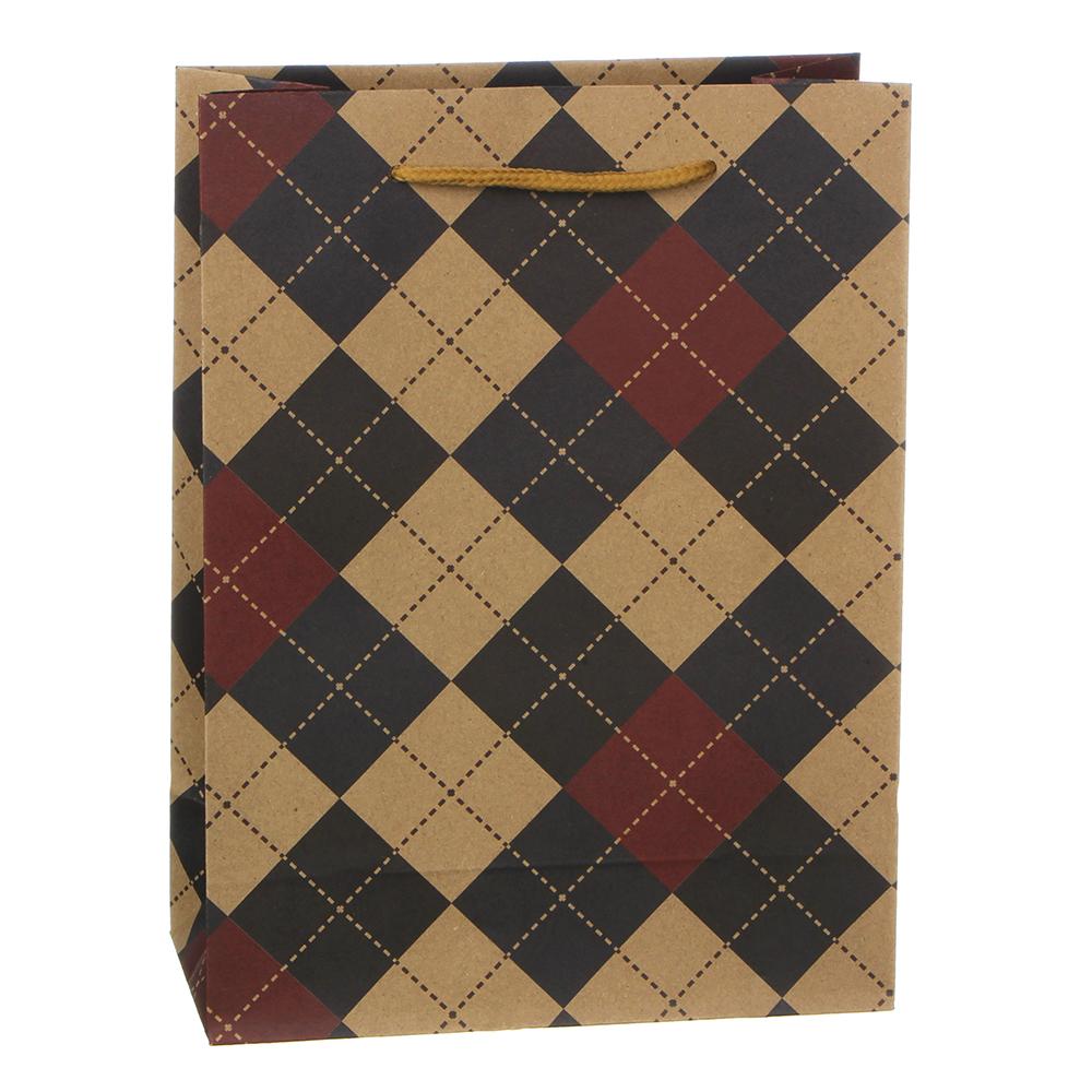 Пакет подарочный бумажный, крафт, 18х24х8,5 см, клеточный узор, 4 дизайна