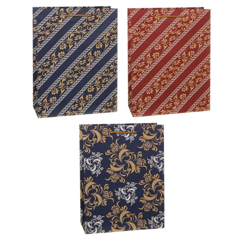Пакет подарочный бумажный, крафт, 23,5х31,5х8,5  см, с орнаментами, 3 дизайна