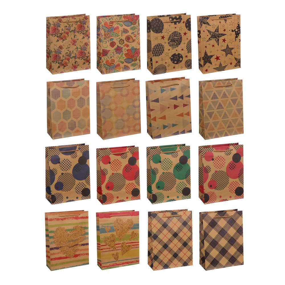 Пакет подарочный бумажный, крафт, 18х24х8,5 см, 4 дизайна