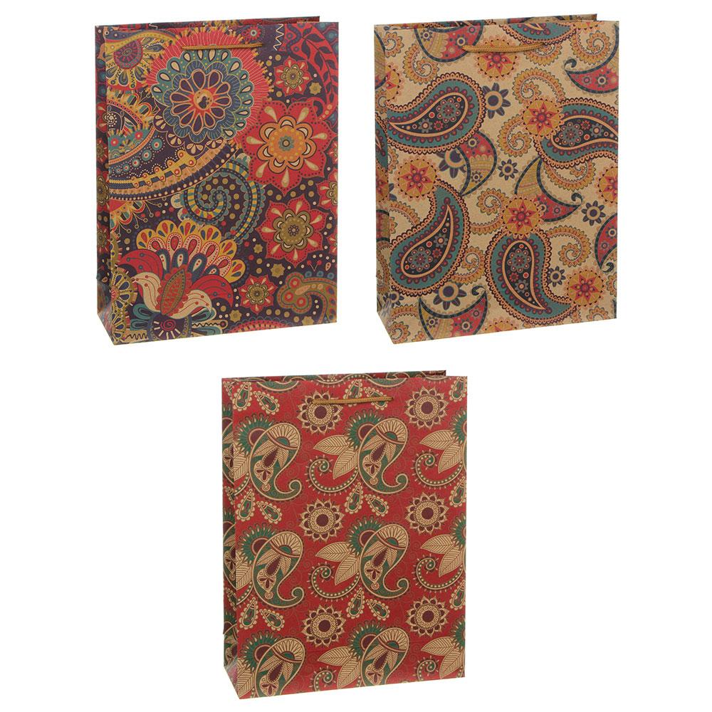 Пакет подарочный бумажный, крафт, 23,5х31,5х8,5 см, 3 дизайна, узоры