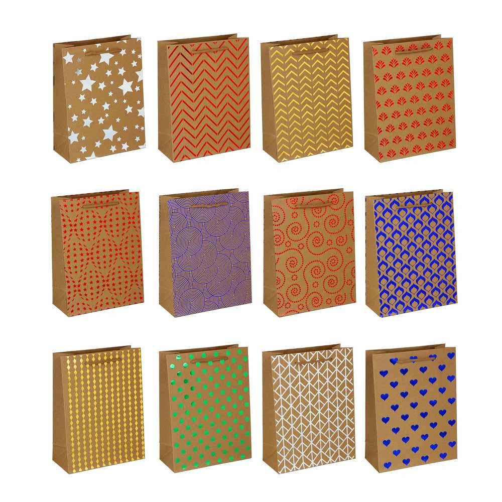 Пакет подарочный бумажный, крафт, 18х24х8,5 см, с блестящим слоем, 12 дизайнов