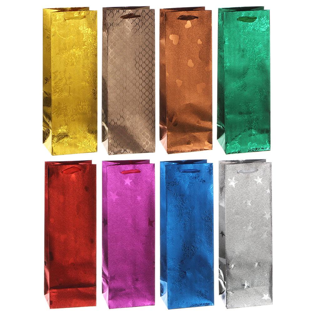 Пакет подарочный бумажный, 36х12х10 см, 8 цветов