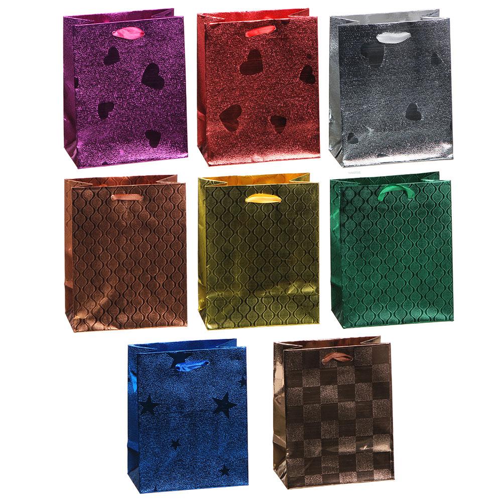 Пакет подарочный бумажный, 11,5х14,5х6,5 см, 8 цветов