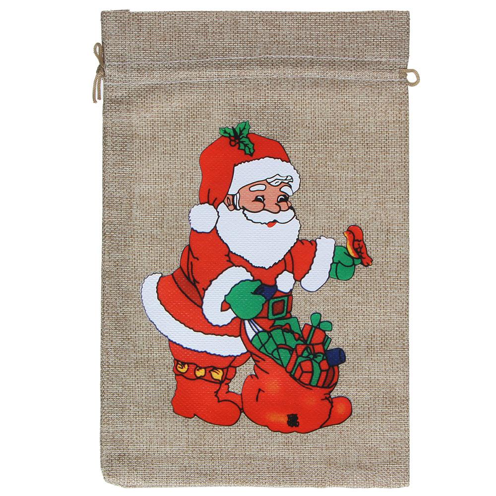Мешок подарочный, с рисунком, 13х18 см, 5 дизайнов, полиэстер