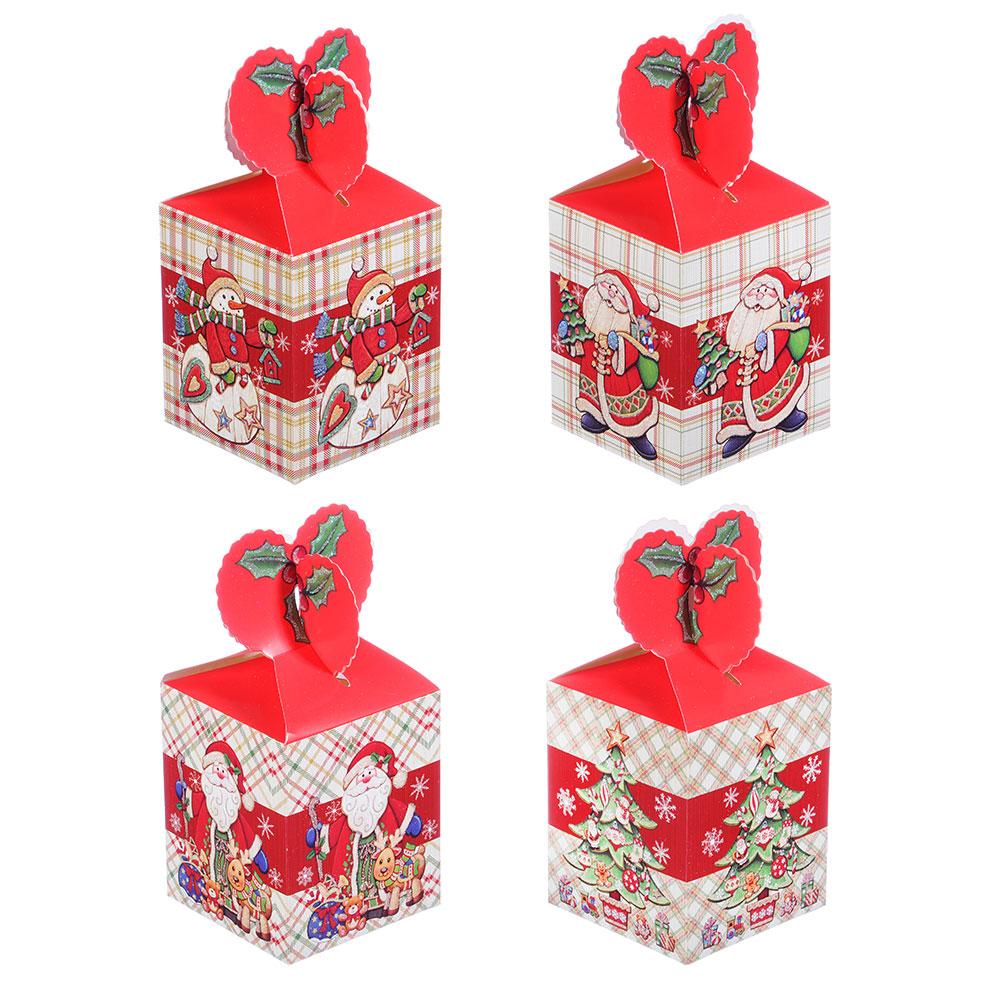 Коробка подарочная бумажная, 8,5х8,5х18 см, 4 дизайна, арт 1