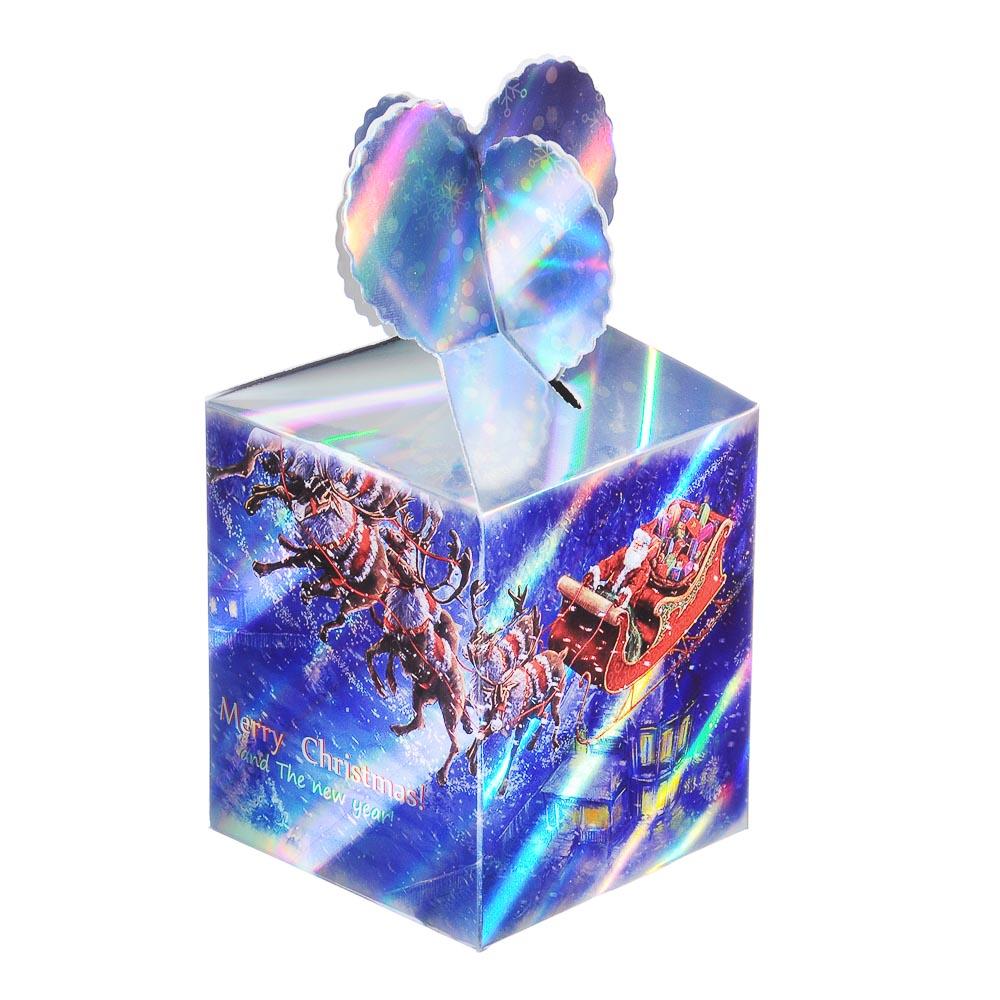 Коробка подарочная бумажная, 8,5х8,5х18 см, 4 дизайна, арт 2